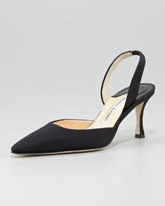 Carolyne Crepe Mid-Heel Halter by Manolo Blahnik at Neiman Marcus.