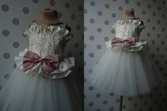 FIORI Ivory Lace Dusty Rose Satin bow Tulle Flower Girl Dress