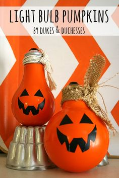 Light bulbs repurposed into pumpkins, cute decoration for Halloween.