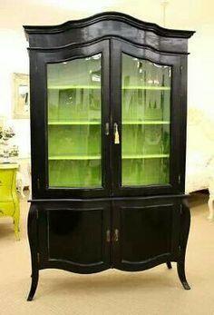 Lime Green & Dark Brown Cabinet - LOVE IT!