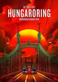 Stunning Scuderia Ferrari poster art for the 2017 Hungarian Grand Prix by Giuseppe Camuncoli. Scuderia Ferrari has taken six victories at the Hungarian Grand Prix (1989, 1998, 2001, 2002, 2004, & 2015), but has not tasted the winners champagne in 2017 since May's Monaco Grand Prix. #F1 #Formula1 #ScuderiaFerrari #Forza Ferrari #HungarianGP #Budapest #Hungaroring #Affiche