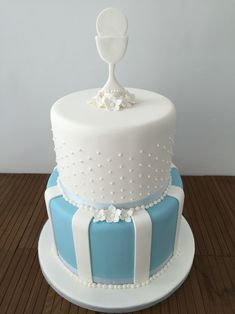 Boys First holy communion two tier cake