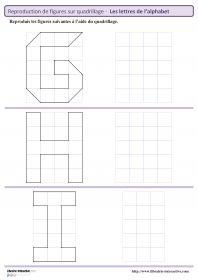 9 fiches pour le cycle 2 (GS - CP - CE1) pour reproduire des figures (lettres de l'alphabet) sur un quadrillage.