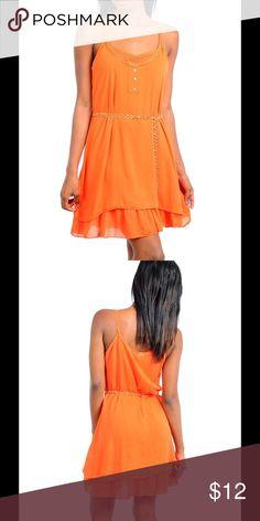 Orange tank dress with belt Chiffon orange dress with gold belt Dresses