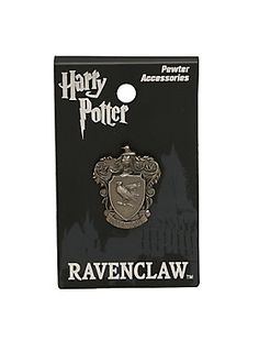 """Ravenclaws prize wit, learning, and wisdom. If you're a Ravenclaw, you'll want this small pewter pin from <i>Harry Potter</i> featuring an elegant Ravenclaw crest design. Can also be worn as charm.<br><ul><li style=""""list-style-position: inside !important; list-style-type: disc !important"""">Approx. 1""""</li><li style=""""list-style-position: inside !important; list-style-type: disc !important"""">Alloy</li><li style=""""list-style-position: inside !important; list-style-type: disc…"""