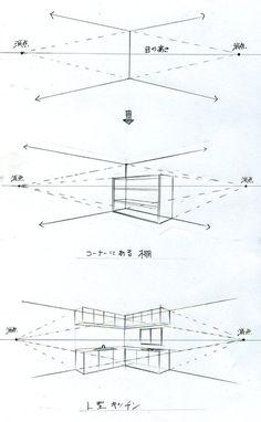 手描きパースの描き方ブログ、パース講座(手書きパース)