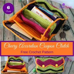 free crochet pattern Cherry Accordion Coupon Clutch
