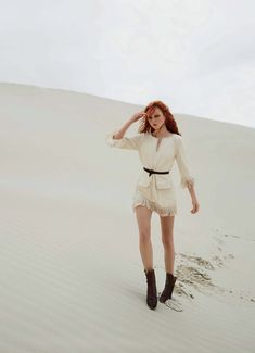Heading outdoors, Madison Stubbington poses in the season's most romantic looks for the April 2018 issue of Marie Claire Australia. Photographed by Simon Upton, the redhead model wears dreamy ivory and cream fashions for an editorial called, 'Wild Beauty'. Stylist Jana Pokorny dresses Madison in designs from the