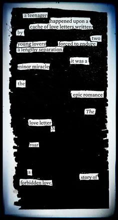 """Epic Romance"" by Kevin Harrell  www.blackoutpoetry.net"