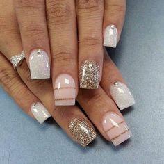 Gold striped nail design