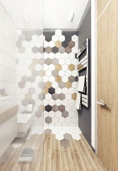 50 Unique Honeycomb Tile To Give Your Bathroom A New Look – Diy Badezimmer Bad Inspiration, Bathroom Inspiration, Floor Design, House Design, Honeycomb Tile, Hexagon Tiles, Bathroom Interior Design, Bathroom Designs, Bathroom Ideas