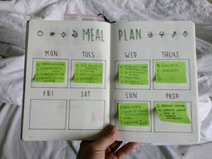 If you use sticky notes, you only have to make one meal plan spread!