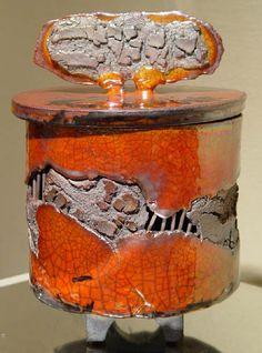 """""""Cylinder Lidded Pot"""" - Raku Ceramic Vessel by Bob Smith"""