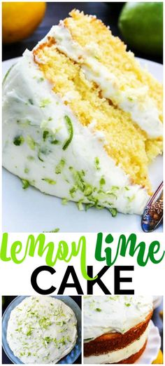 This LEMON LIME LAYER CAKE is just perfect for spring and summer. This gorgeous cake has layers of lemon cake frosted with a lime buttercream. #cake #lemoncake #lime