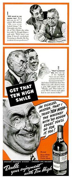 Ten High Bourbon Whiskey Ad Circa 1940