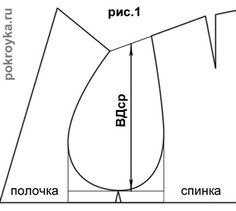 Для построения выкройки одношовного рукава нужны следующие мерки фигуры: ДР – длина рукава = 58 см ДЛ – длина до локтя = 33 см ОК – окружность кисти = 22 см ОР – окружность руки = 27 см Lпр.П. – длина проймы полочки = 21 см Lпр.С. – длина проймы спинки = 20 см Прибавки [...]