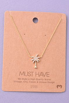 Jewel Palm Tree Pendant Necklace. - Must Have Collection
