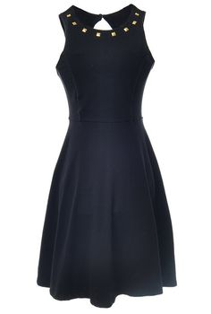 Black Sleeveless Rivet Backless Pleated Dress