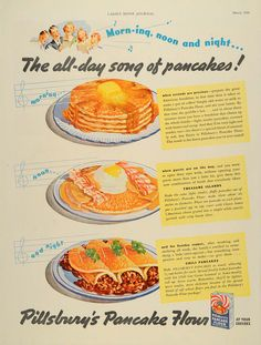 "Pillsbury's Treasure Island Pancakes and Chili Pancakes Recipes from ""Ladies' Home Journal"" Vintage Ads Food, Vintage Tin Signs, Vintage Images, Vintage Designs, Retro Vintage, Retro Advertising, Retro Ads, Vintage Advertisements, Retro Recipes"