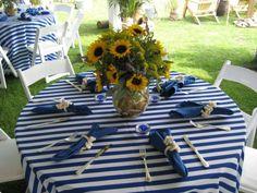 nautical decor, sunflowers, blue, white, yellow, summer decor, simple party ideas, table setting, centerpiece.