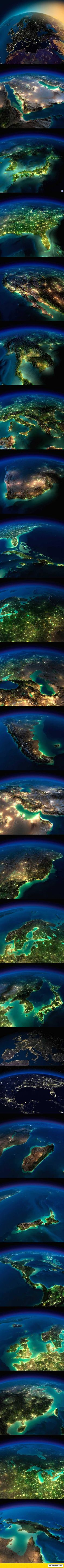 "An amazing gallery of earth images.  Looks like Christmas lights in the snow.  But they are also depressing.  Those lights also represent, loss of space for wildlife, diminished overall resources, rampant destruction of trees and waterways, overpopulation, loss of nighttime skies, depletion of ocean fishes, and runaway greenhouse effects.  Some say, we're going through another ""mass extinction"", which, if true, means that even man will be cut down to a few hundred, just like last time."