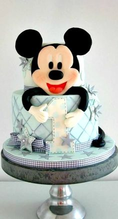 Soft blue and grey Mickey Mouse cake Gateau Theme Mickey, Mickey Mouse Torte, Minni Mouse Cake, Mickey And Minnie Cake, Bolo Mickey, Mickey Cakes, Gorgeous Cakes, Amazing Cakes, Fondant Cakes