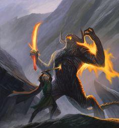"""myrkvidrs:  """" Glorfindel and the Balrog // oleg kuzmin  """""""