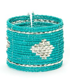 Look what I found on #zulily! Silver & Turquoise Beaded Cuff #zulilyfinds