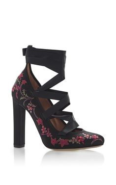 Black Floral Embroidered High Heel With Satin Ribbon Ankle Lacing by ETRO for Preorder on Moda Operandi