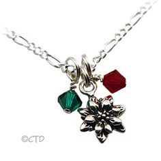 Christmas Necklace in .925 Sterling Silver with Poinsettia Charm and two Swarovski Crystal Dangles.   $30