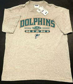 27dde8c5e Details about NFL Dolphins Football Gray T Shirt Mens XL New