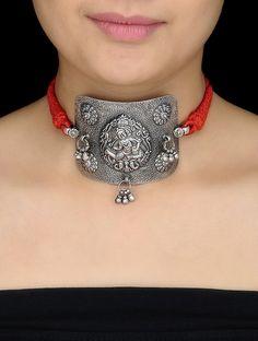 Buy Red Thread Silver Armlet cum Necklace with Deity Motif Online at Jaypore.com
