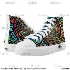 Customize your High-Top sneakers with a Mandala of letters #sneakers #mandala #funnysneakers #shoes #colorleters #fashion #zapatillas #kicks #yeezy #sneaker Painted Shoes, Custom Sneakers, Top Shoes, Yeezy, Converse Chuck Taylor, High Tops, High Top Sneakers, Your Style, Mandala