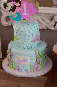 Mermaid cake at an under the sea birthday party! See more party planning ideas at CatchMyParty.com!