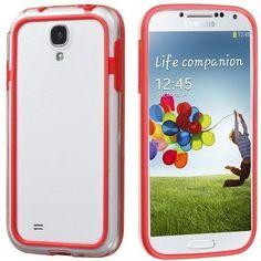 MYBAT Slim Hybrid Bumper Case for Samsung Galaxy S4 - Red/Clear