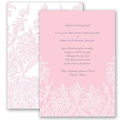 Traditional and elegant, this printed lace wedding invitation will wow your guests!