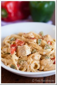 Cajun Chicken Pasta - The sauce is creamy and spicy, but has no cream and almost no butter!