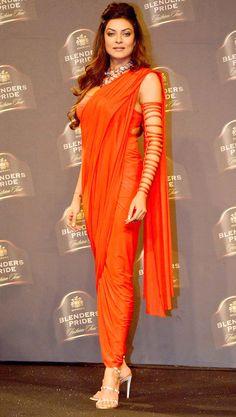 That confidence!! Sushmita Sen looked ravishing as the showstopper for Shivan & Narresh at Blenders Pride Fashion Tour 2014.