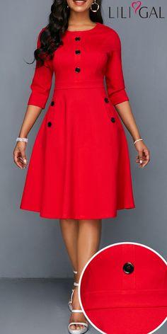 Red Pocket Button Embellished A Line Dress Elegant Dresses For Women, Work Dresses For Women, Latest African Fashion Dresses, Women's Fashion Dresses, African Fashion Traditional, Shweshwe Dresses, Red Homecoming Dresses, Half Sleeve Dresses, Classy Dress