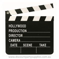 Lights...Camera...Action! This cool Hollywood Director's Clapboard is the ultimate Hollywood Party prop, and a bargain at only $6.99!