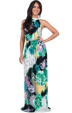 5dd4ab6b32d5c KOH KOH Plus Size Womens Long Summer Flowy Sexy Halter Neck Sleeveless  Casual Floral Print Printed Beach Hawaiian Spring Boho Gown Gowns Maxi  Dress Dresses ...