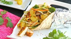 Grilled chicken + grilled pineapple = stuffed pitas with so much extra flavor