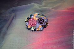 """Купить Брошь текстильная бохо """"Фиолетовое настроение"""" - сиреневый, текстильное украшение, бежевый цвет"""