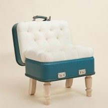 Suitcase Chair – White Silverline – Seating – Recreate - StyleSays (My sister would love this) Repurposed Furniture, Cool Furniture, Refurbished Furniture, Furniture Ideas, Suitcase Chair, Vintage Suitcases, Furniture Restoration, Interior Design Studio, Looks Cool