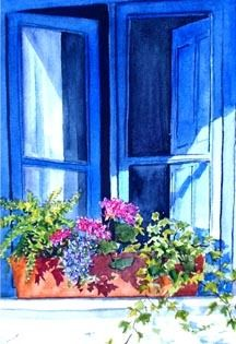 ✿Flowers at the window & door✿ Blue Window (Spain)