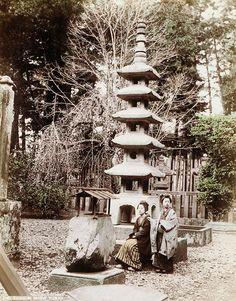 Garden of Shogun palace, Shiba, Tokyo, ca. 1880-1890 by Kusakabe Kimbei