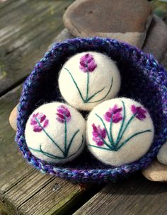 Wool Dryer Balls, Lavender Oil Infused, Sachets, Set of 3 With Crocheted Basket, Eco Friendly, Natural  To this Earth be gentle, to this Earth be kind! What better way then to reduce your carbon footprint and these 100% all natural wool dryer balls will help you take care of this Earth.  Each ball is felted from 100% merino wool and then needle felted with lovely lavender flowers and infused with essential lavender oil. Three lovely balls are then nestled into a hand crocheted bowl of…