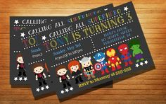Chalkboard Avenger Superhero Party Birthday Party Card Digital Invitation…