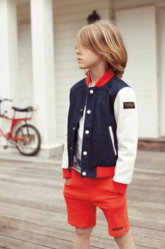 A new denim jacket variation for boys at Finger in The Nose for spring 2014