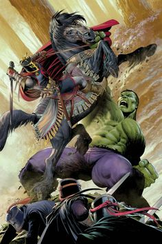 Hulk and Black Knight by Mukesh Singh